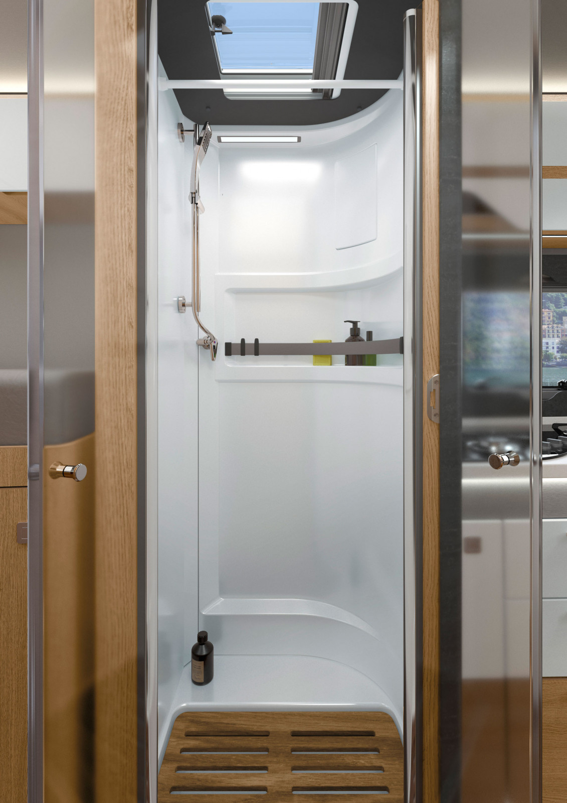 Samostatná sprcha v kúpeľni Hymermobil B-Klasse MasterLine ponúka dostatok voľného pohybu a pohodlia.